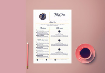 Resume Layout with Yellow Sectioned Border