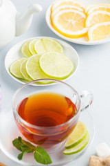 Composition of tea with spice and fruits