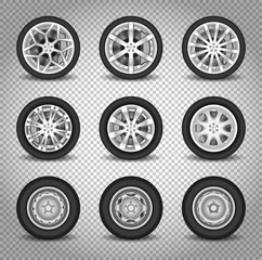 Car wheels vector set isolated on transparent background