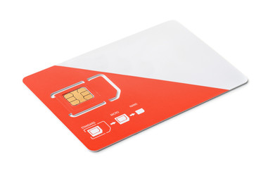 New red and white sim card