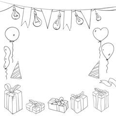 Festive birthday sketch on white background.