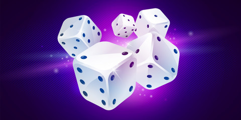 Five white game dices on dark blue background. Poker gambling