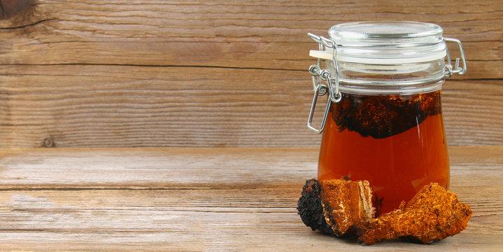 Healing tea from birch mushroom chaga is used in folk medicine.