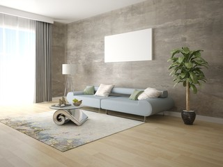 Mock up a stylish living room with a trendy sofa and a perfect hipster background.