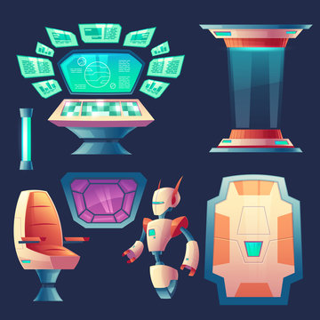 Vector set of alien spaceship design elements. Control panel with screens for cockpit in rocket. Devices, robot, collection for interior of flying craft isolated on dark background