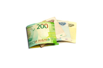Paper money on a white background