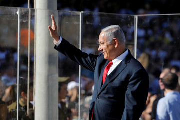 Israeli Prime Minister Benjamin Netanyahu attends a graduation ceremony of new Israeli army officers at a base near Mitzpe Ramon, Israel