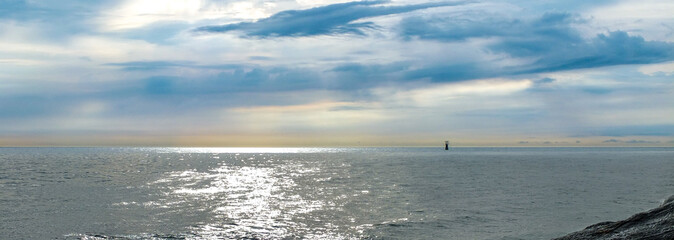 Warning buoy of floating at the sea