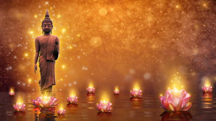 Photo sur Plexiglas Buddha Buddha statue water lotus Buddha standing on lotus flower on orange background