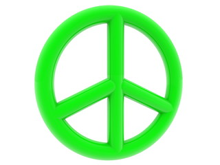 Peace symbol in green on white