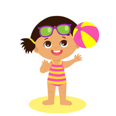 Happy Holidays. Isolated Happy Summer Girl Vector Flat Style. Cartoon Illustration Of Cute Child On The Beach. Little Girl With A Ball Playing At The Beach. Happy Childhood Memories.