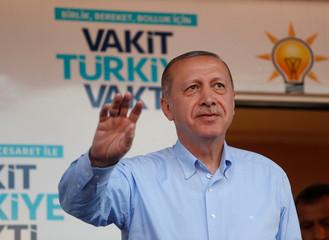 Turkish President Tayyip Erdogan attends a rally in Mardin