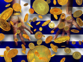Bitcoin crypto currency Greece flag A lot of falling  gold bitcoins Rain of golden coins fall to the palms of the hands on Hellenic Republic waving flag with white cross and stripes background