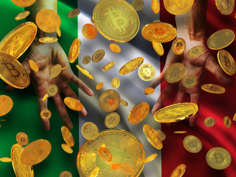 Bitcoin crypto currency Italy flag A lot of falling  gold bitcoins Rain of golden coins fall to the palms of the hands on Italian Republic waving flag background