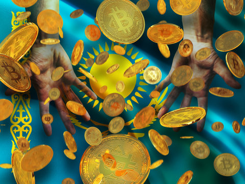Bitcoin crypto currency Kazakhstan flag A lot of falling  gold bitcoins Rain of golden coins fall to the palms of the hands on Republic of Kazakhstan  waving flag with sun and eagle background