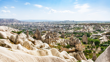 mountains slope and Goreme town in Cappadocia