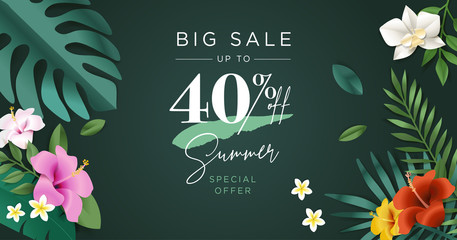 Summer sale vector illustration for mobile and social media banner, poster, shopping ads, marketing material.