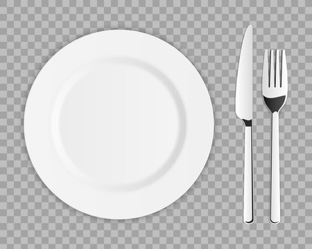 Creative vector illustration top view cutlery set of silver fork, spoon, knife isolated on transparent background. Art design kitchen silverware table setting. Concept graphic printables element