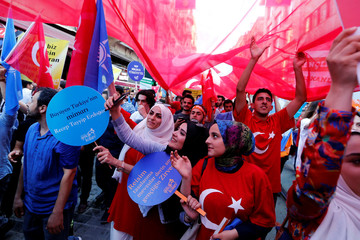 Pre-election gathering of supporters of Turkish President Tayyip Erdogan in Istanbul