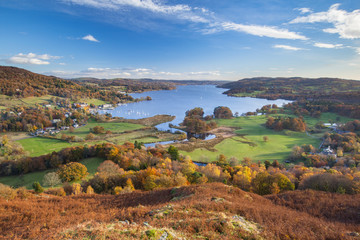 View of Windermere in the English Lake District, from Todd Crag, on a sunny autumn day.