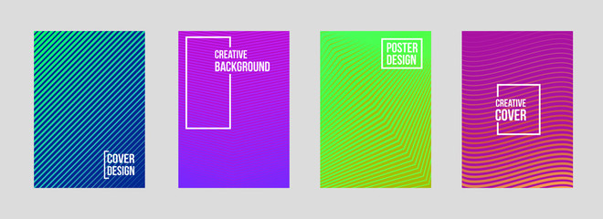 Creative vector illustration of minimal geometric halftone gradient covers set background. For art template design, list, page, blank, mockup, booklet, print, book, card, ad, sign, sheet, a4, annual
