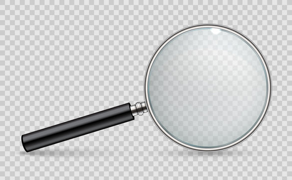 Creative vector illustration of realistic magnifying glass isolated on transparent background. Art design search, inspection symbol. Abstract concept magnifier zoom, tool with hand lens element