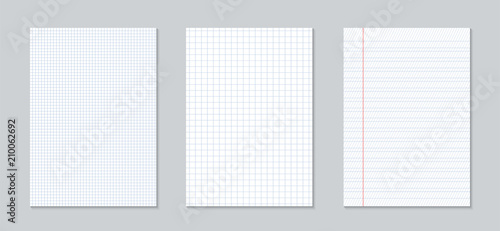 Creative vector illustration of realistic square, lined paper blank