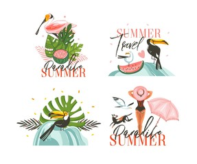 Hand drawn vector abstract graphic cartoon summer time flat illustrations sign collection set with girl,toucan and tropical birds,watermelon,palm leaves and typography isolated on white background