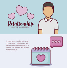 Infographic presentation of online dating concept with avatar man and calendar icons over colorful background, vector illustration