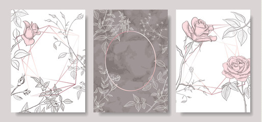 Luxury cards collection with marble texture ,hand-drawn flowers and geometric shape.Vector trendy background. Modern set of abstract card, template,posters,invitational.