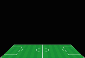 Soccer field. Perspective view from the sideline. Vector illustration on black background.