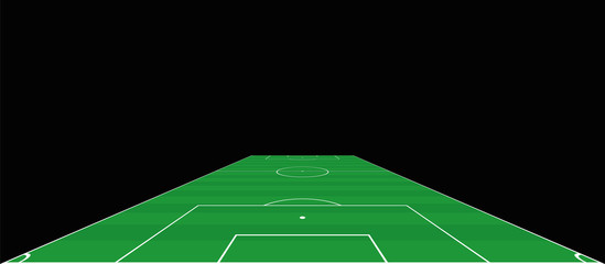 Soccer field. Goalkeepers extensive perspective view. Green pitch, sports turf. Vector illustration on black background.