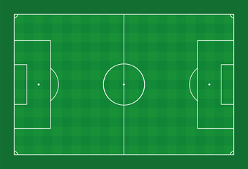 Soccer field. Green pitch with white lines and check pattern sports turf. Vector illustration on green background.