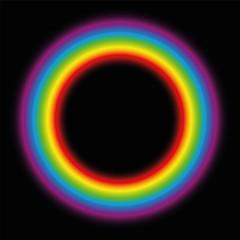 Subtle body circle. Illuminating rainbow gradient aura ring. Vector illustration on black background.