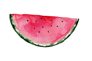Juicy pink watemelon. Watercolor illustration.