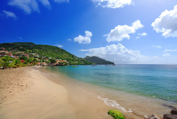 Beautiful Le Diamant beach and village, Martinique, Caribbeans. Caribbean Martinique beach coconut