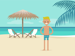 Young character on vacation. Beach landscape. Two chaise lounges under the palm tree umbrella. Background. Paradise. Flat editable vector illustration, clip art