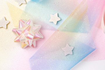 Festive background in Rainbow pastel colors. Unicorn party.
