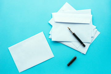 Blank white envelopes as mock up copy space