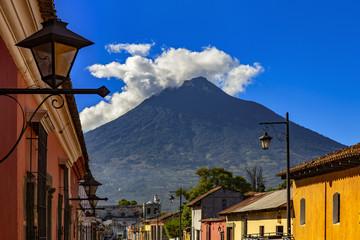 Guatemala. Antigua. Dormant Agua Volcano (Volcan de Agua) overlooks the city