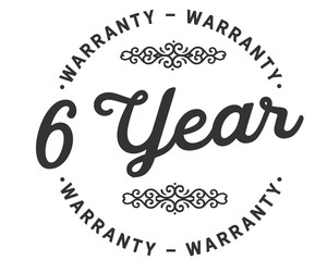 6 years warranty icon stamp guarantee