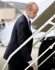 White House Senior Advisor Miller boards back steps of Air Force One for travel to Minnesota from Joint Base Andrews in Maryland