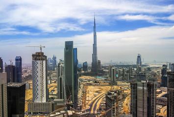Dubai skyline close to it's busiest highway on traffic