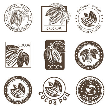 collection of labels with cocoa beans and leaves