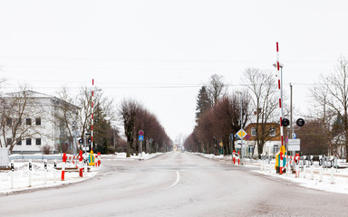 Sigulda Level Crossing.  The view across  a railway level crossing in Sigulda.  Sigulda is a town in Latvia.