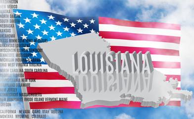 Louisiana inscription on American flag background