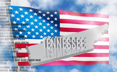Tennessee inscription on American flag background