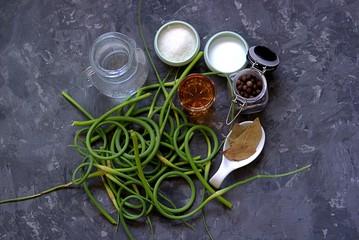 Ingredients for marinating fresh young garlic arrows on a dark gray concrete background. Fresh garlic hands, salt, sugar, vinegar, bay leaf, water, sweet pepper.