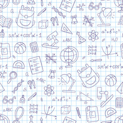 School seamless pattern in doodle and cartoon style. Notebook in a cage.