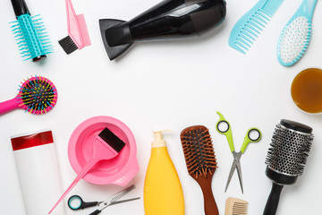 Image of accessories hairdresser, hair dryer, comb, hair bands isolated on white background.
